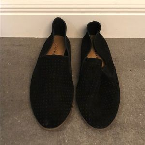 Black suede lucky brand slip ons